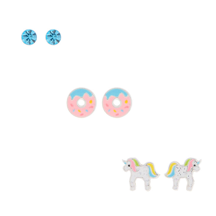 Sterling Silver Unicorn Donut Earrings - 3 Pack,