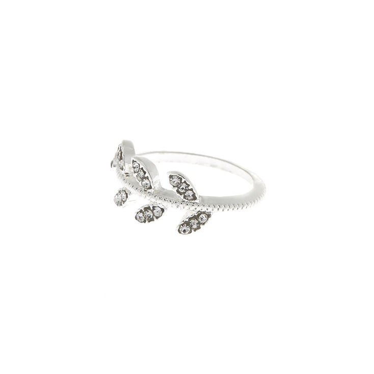 Silver Embellished Vine Leaf Ring,