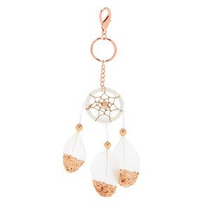 Dreamcatcher Feather Keychain - White,