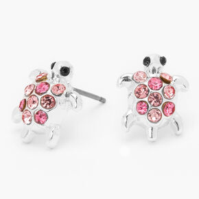 Silver Embellished Turtle Stud Earrings - Pink,