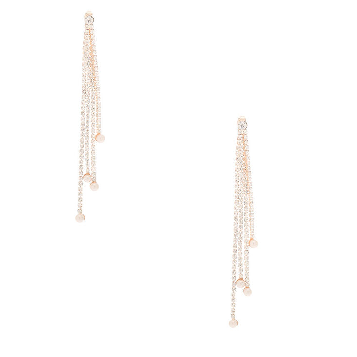 "Rose Gold Rhinestone 3.5"" Linear Ear Jackets,"