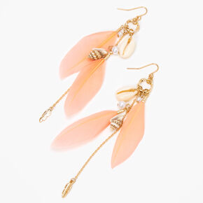 """Gold 4"""" Cowrie & Conch Seashell Feather Drop Earrings - Pink,"""