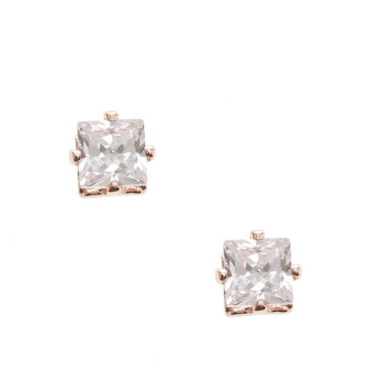 Rose Gold Tone Framed Square Cut Cubic Zirconia Stud Magnetic Earrings