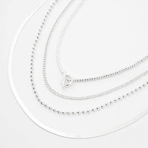 Silver Ball Chain Toggle Multi Strand Necklace,