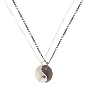 Mixed Metal Yin Yang Pendant Necklaces - 2 Pack,