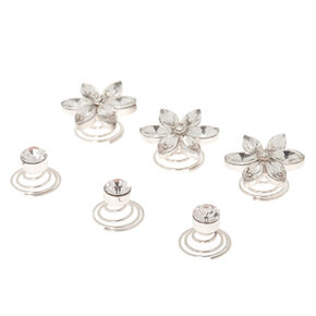 Silver Rhinestone Floral Hair Spinners - 6 Pack,