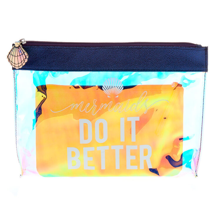 Mermaid Holographic Clear Clutch Set,