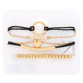Gold Desert Escape Statement Bracelets - Black, 5 Pack,