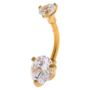 Gold 14G Round Stone Belly Ring,