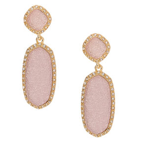 "Gold 2"" Geode Drop Earrings - Pink,"