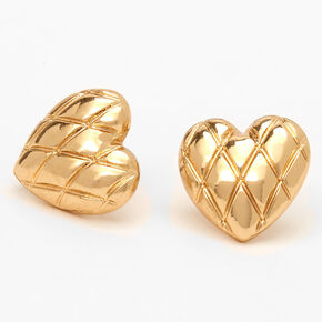 Gold Puffy Quilted Hearts Stud Earrings,
