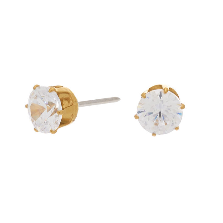 Gold Titanium Cubic Zirconia Round Stud Earrings - 5MM,