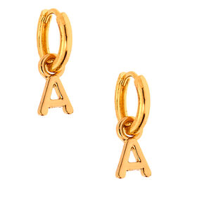 Gold 10MM Initial Huggie Hoop Earrings - A,