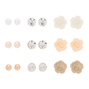 Mixed Metal Floral Stud Earrings - 9 Pack,