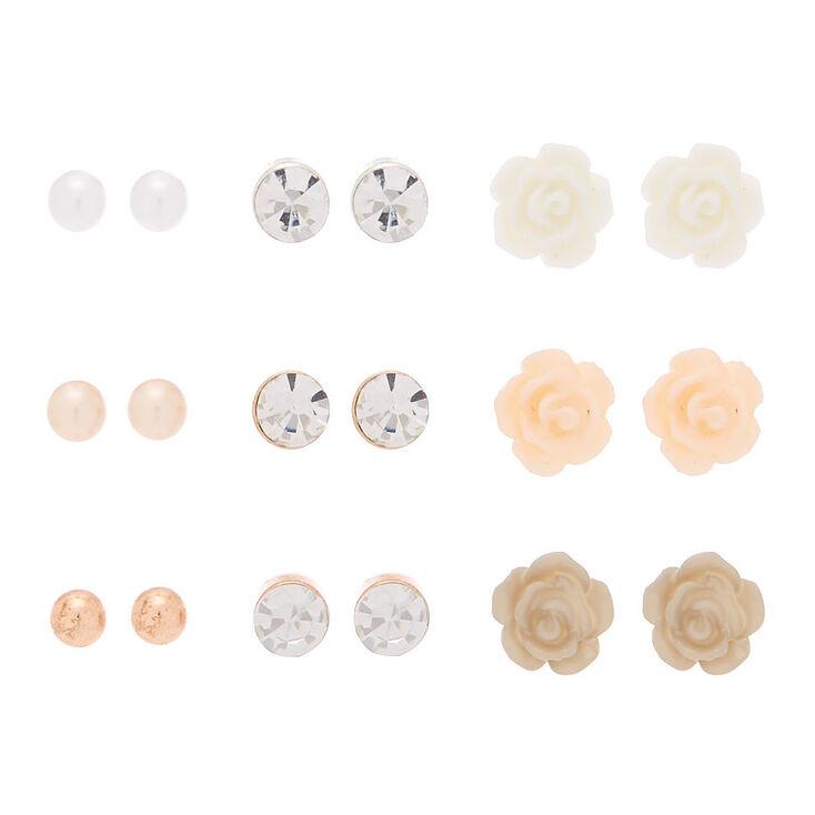 Mixed Metal Floral Stud Earrings - 9 Pack,