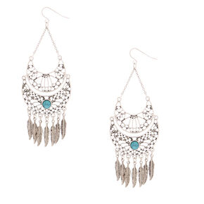 "Silver 3.5"" Western Feather Drop Earrings - Turquoise,"