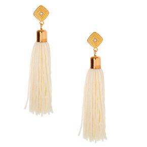 """Gold 3"""" Tassel Drop Earrings - White,"""