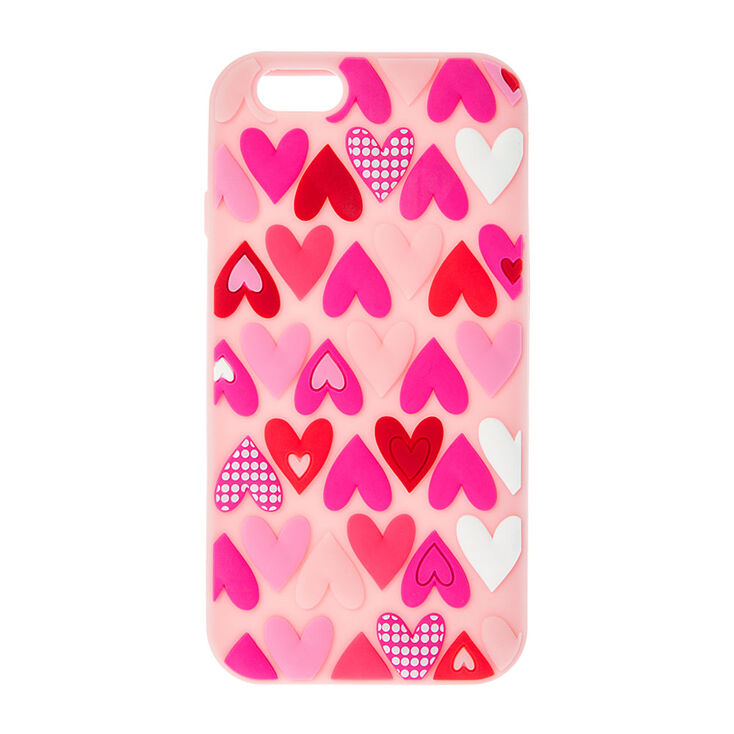 Pink Silicone Hearts Phone Case,