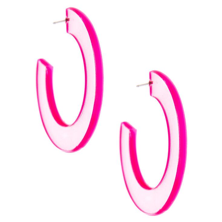 40MM Clear Hoop Earrings - Pink,