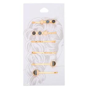 Gold Neutral Blush Round Hair Pins - 6 Pack,