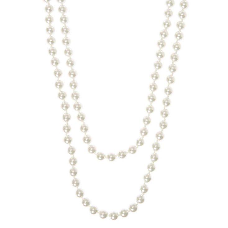 Vintage Style Jewelry, Retro Jewelry Icing 60 White Pearl Necklace $16.50 AT vintagedancer.com