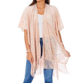 Velvet Fringe Kimono - Blush,