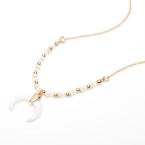 Gold Shell Horn Beaded Pendant Necklace - White,