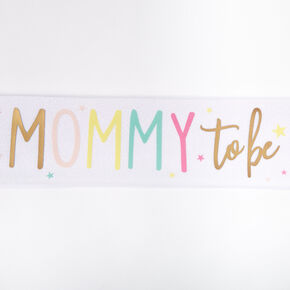 Mommy To Be Glitter Sash - White,