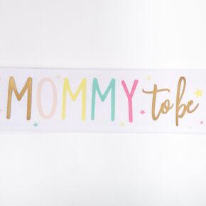 Mommy To Be Glitter Sash - White,