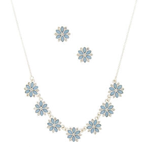 Silver Floral Jewelry Set - Light Blue, 2 Pack,
