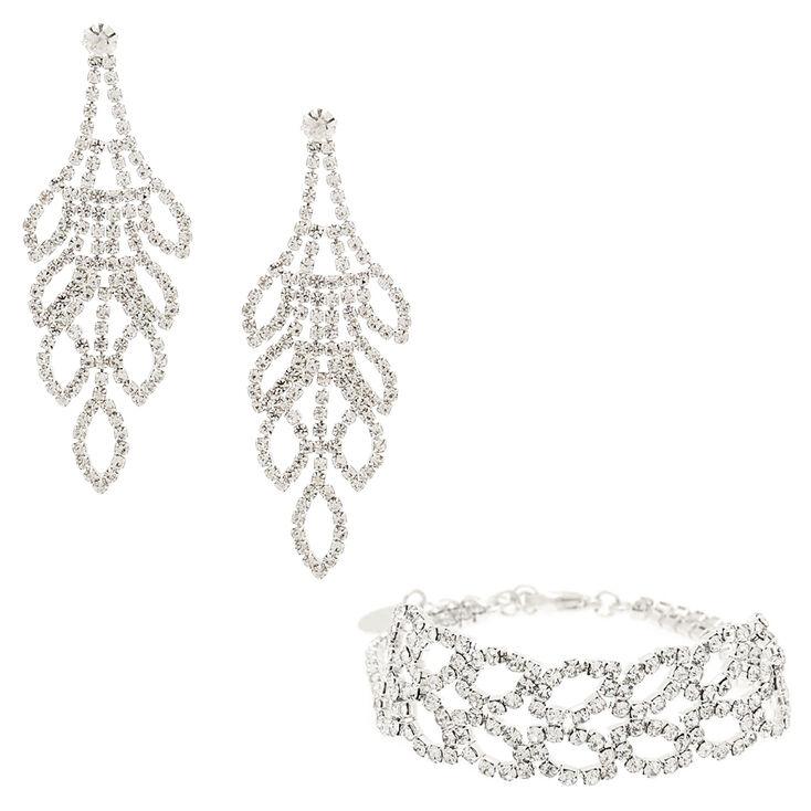 Rhinestone Leaf Jewelry Set - 2 Pack,