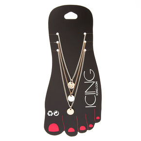 Mixed Metal Disc Anklets - 3 Pack,