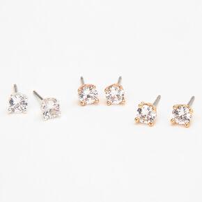 Mixed Metal Cubic Zirconia 5MM Round Stud Earrings - 3 Pack,