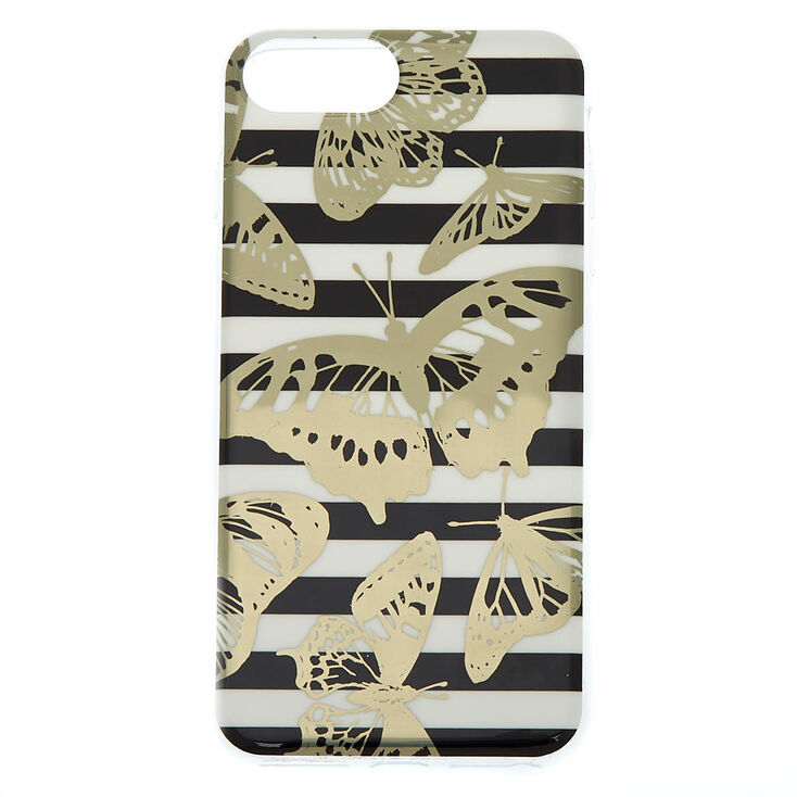 Striped Metallic Butterfly Phone Case - Fits iPhone 6/7/8 Plus,