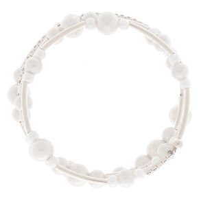 Silver Pearl Orbit Wrap Statement Bracelet,