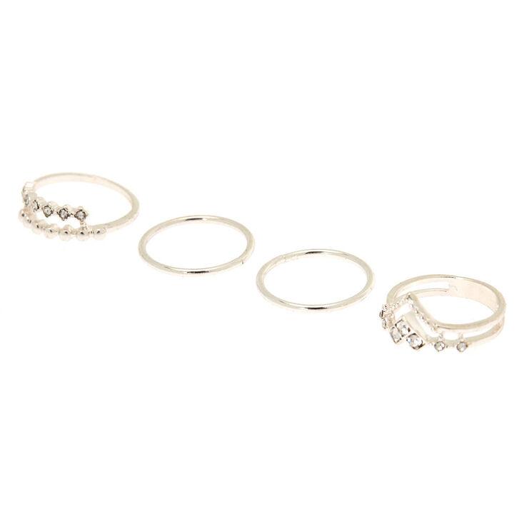 Silver Chevron Midi Rings - 4 Pack,