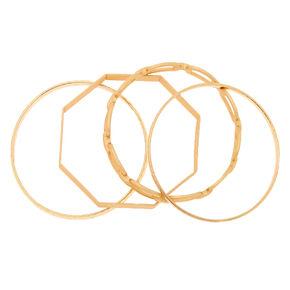 Gold Chain Bangle Bracelets - 4 Pack,