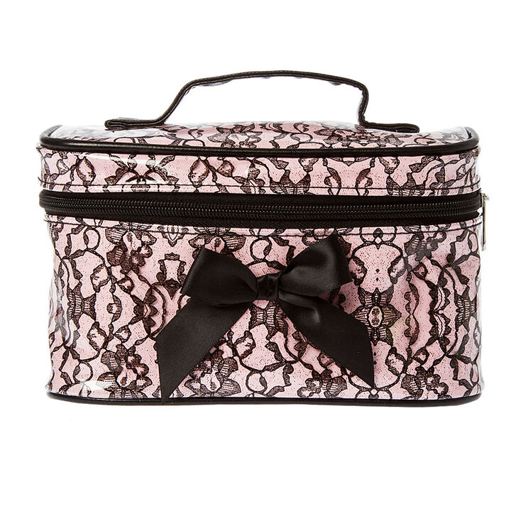 Pink & Black Lace with Bow Cosmetic Train Case,