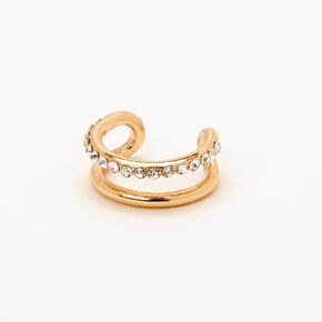 Gold Single Embellished Double Row Ear Cuff,