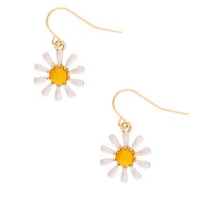 """Gold 1"""" Daisy Drop Earrings,"""