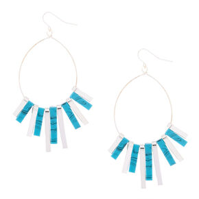 """Silver 2.5"""" Marble Bar Drop Earrings - Turquoise,"""