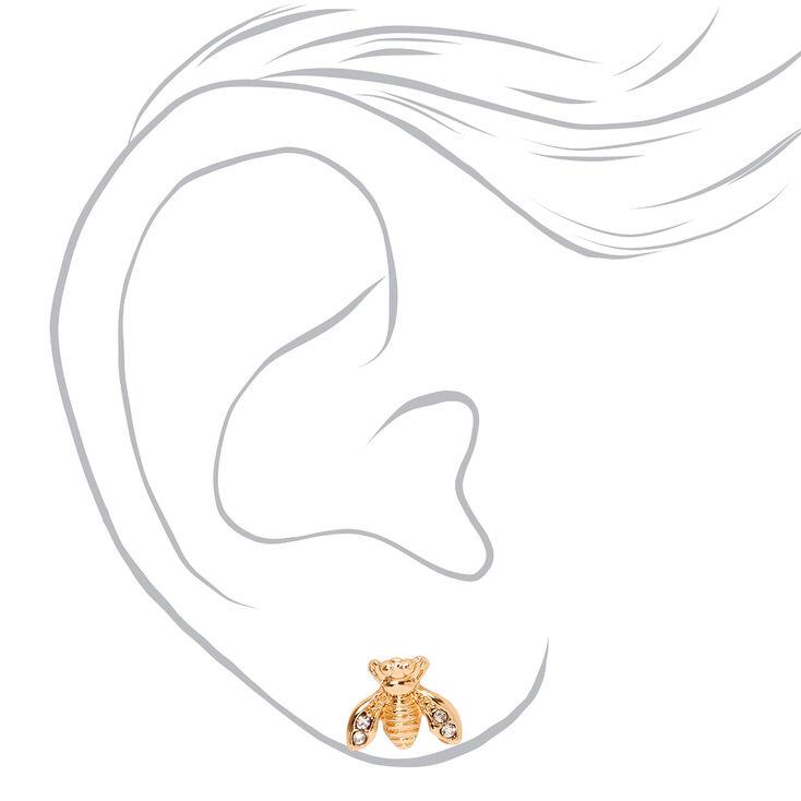 Gold Embellished Bee Stud Earrings,