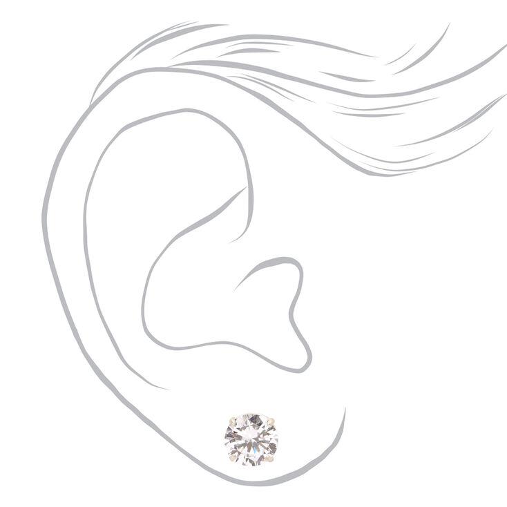 Sterling Silver Cubic Zirconia Round Basket Stud Earrings - 8MM,