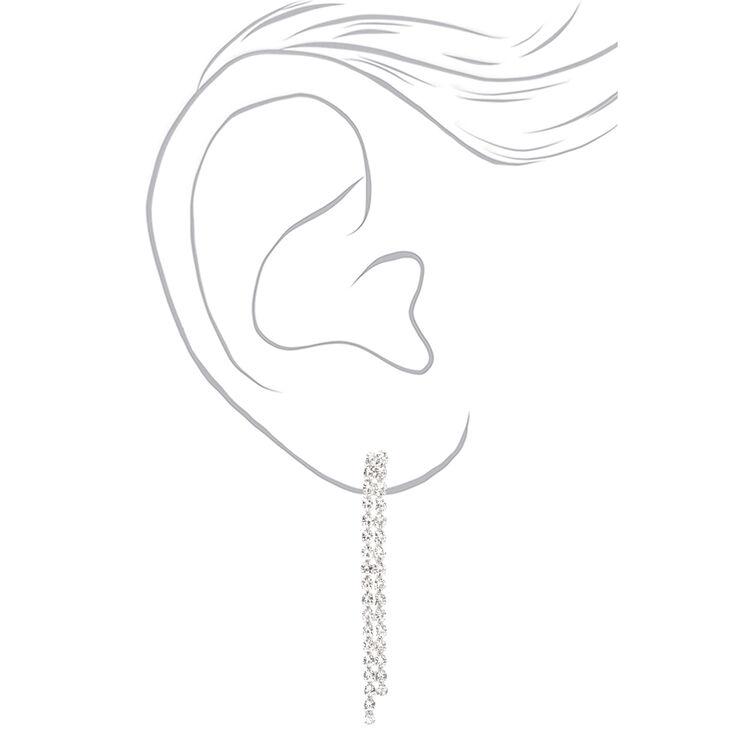 Silver Rhinestone Triple Row Linear Y-Neck Jewelry Set - 2 Pack,