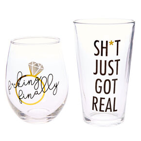 Engagement Pint & Wine Glass Set - 2 Pack,
