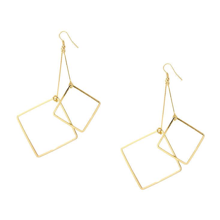 Gold Double Diamond Outline Drop Earrings,