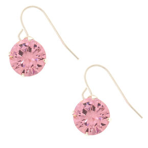 10MM Pink Cubic Zirconia Drop Earrings,