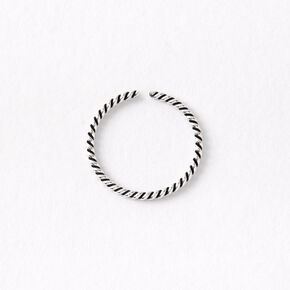 Sterling Silver 20G Braided Swirl Hoop Nose Ring,