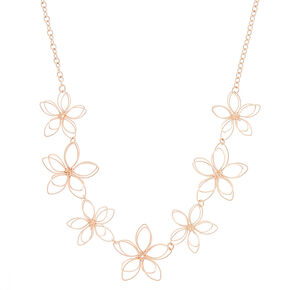 Rose Gold Wire Flower Statement Necklace,
