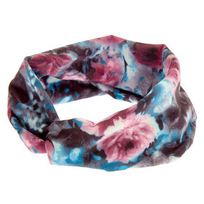 Purple & Teal Muted Floral Twisted Headwrap,